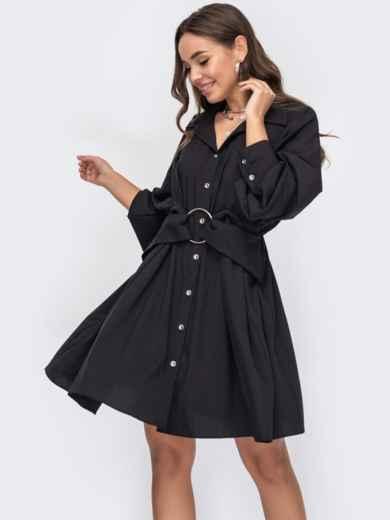 Черное платье-рубашка с эластичной деталью по талии 53158, фото 1