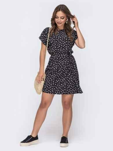 Черное платье с принтом и резинкой в поясе 48481, фото 1