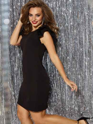 """чёрное платье с рукавом """"крылышко"""" и вырезом по спинке 42842, фото 1"""