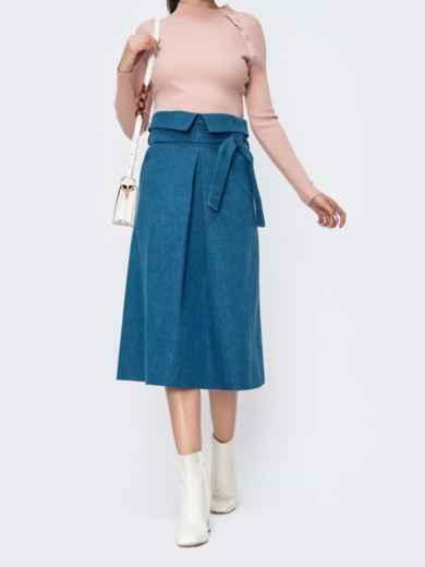 Джинсовая юбка с карманами по бокам голубая 44855, фото 2