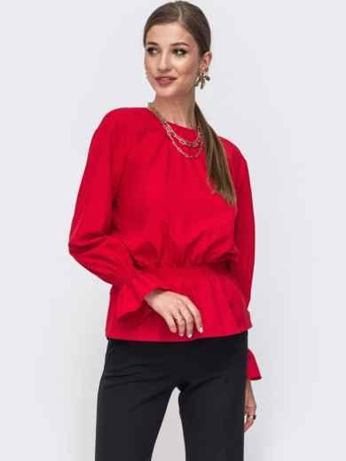 Красная блузка с вырезом по спинке и бантом 49389, фото 2