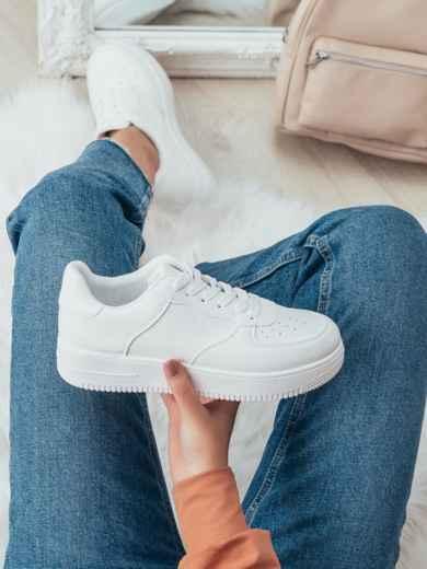 Кроссовки из искусственной кожи белого цвета 50695, фото 1