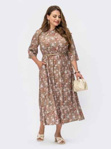 Платье батал из софта с принтом и расклешенной юбкой бежевое 54217, фото 1