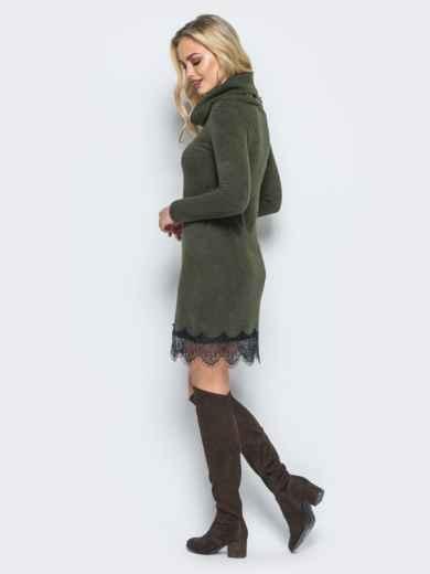 Платье из ангоры с воротником-хомут зелёное - 17790, фото 2 – интернет-магазин Dressa