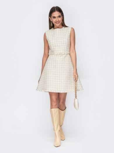 Платье из букле с расклешенной юбкой молочного цвета 53467, фото 1