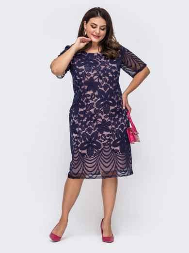 Приталенное платье батал из гипюра тёмно-синее 51488, фото 1