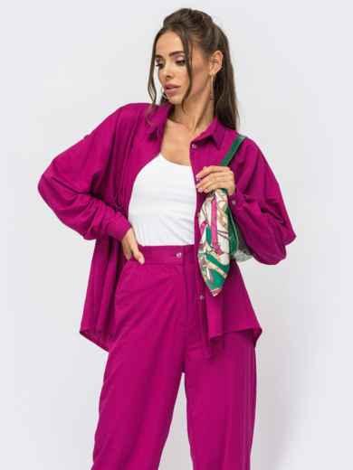 Розовый костюм из брюк и рубашки на пуговицах 53973, фото 1