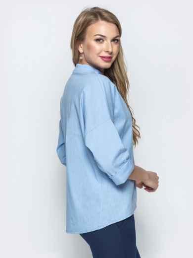 """Рубашка прямого кроя с вышивкой """"гуси"""" голубая - 21936, фото 2 – интернет-магазин Dressa"""