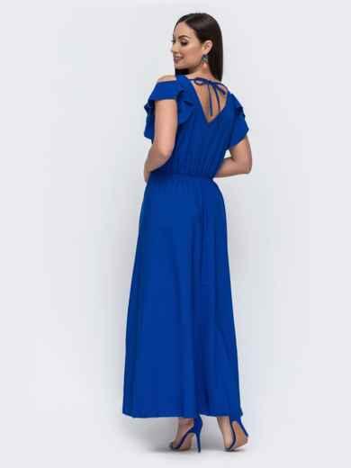 Синее платье в пол большого размера - 46346, фото 2 – интернет-магазин Dressa