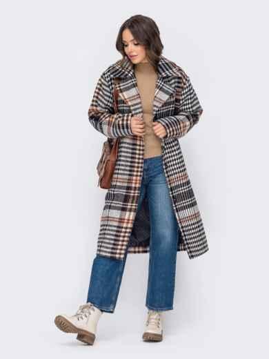 Свободное пальто в клетку бежевого цвета 51034, фото 1