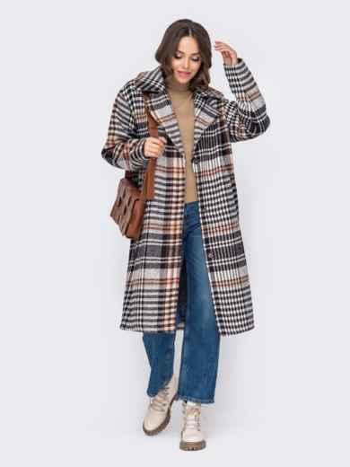 Свободное пальто в клетку бежевого цвета 51034, фото 3