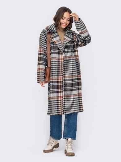 Свободное пальто в клетку бежевого цвета 51034, фото 4