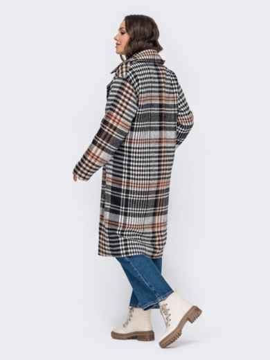 Свободное пальто в клетку бежевого цвета 51034, фото 5