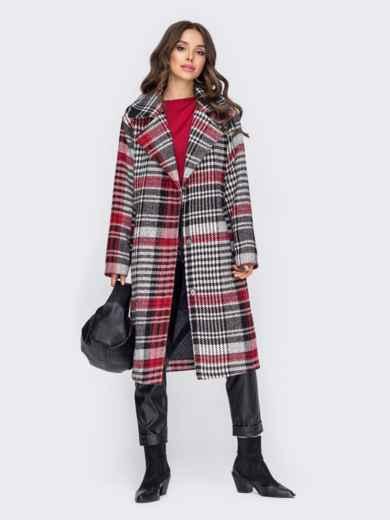 Свободное пальто в клетку красного цвета 51035, фото 1
