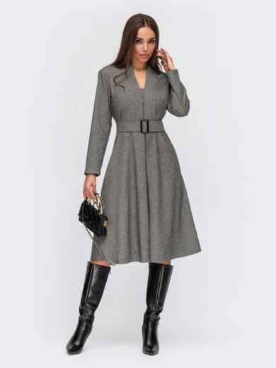 Серое платье с Vобразным вырезом и юбкой-клеш - 55570, фото 1