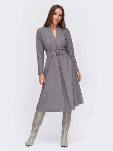 Платье серого цвета с Vобразным вырезом и юбкой-клеш - 55571, фото 1