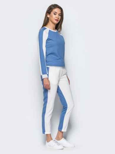 Белый комплект с голубой полочкой на кофте - 16902, фото 2 – интернет-магазин Dressa