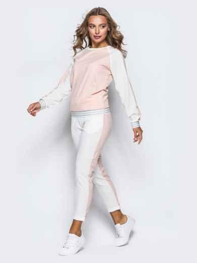 Белый комплект с розовой полочкой на кофте - 16901, фото 2 – интернет-магазин Dressa
