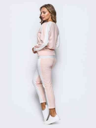 Белый комплект с розовой полочкой на кофте - 16901, фото 3 – интернет-магазин Dressa