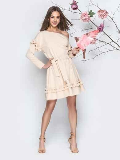 Бежевое платье с рюшами и юбкой-полусолнце - 21156, фото 1 – интернет-магазин Dressa