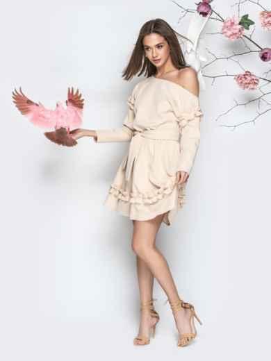 Бежевое платье с рюшами и юбкой-полусолнце - 21156, фото 2 – интернет-магазин Dressa