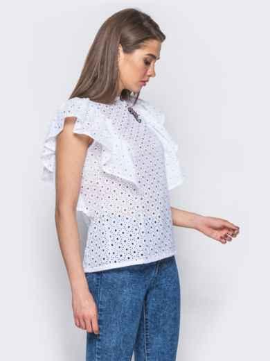 Блузка из прошвы с оборкой на полочке - 10132, фото 2 – интернет-магазин Dressa