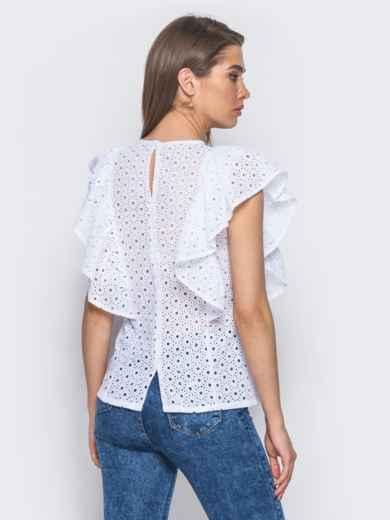 Блузка из прошвы с оборкой на полочке - 10132, фото 3 – интернет-магазин Dressa