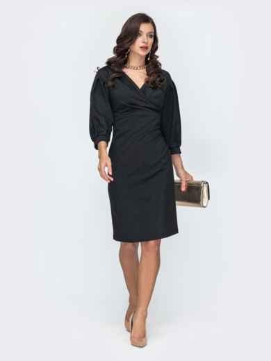 Чёрное платье приталенного кроя с объемными рукавами 52044, фото 1