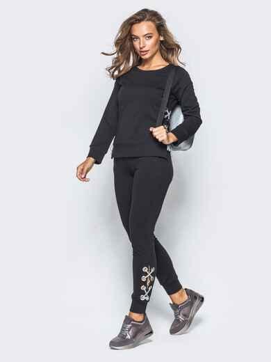Черный спортивный костюм с регулируемыми шнуровкой - 16524, фото 1 – интернет-магазин Dressa