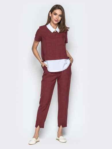 Комплект с кофтой имитирующей рубашку и брюками бордовый - 21154, фото 1 – интернет-магазин Dressa
