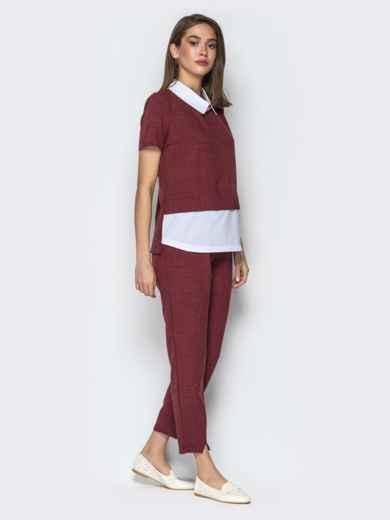 Комплект с кофтой имитирующей рубашку и брюками бордовый - 21154, фото 2 – интернет-магазин Dressa