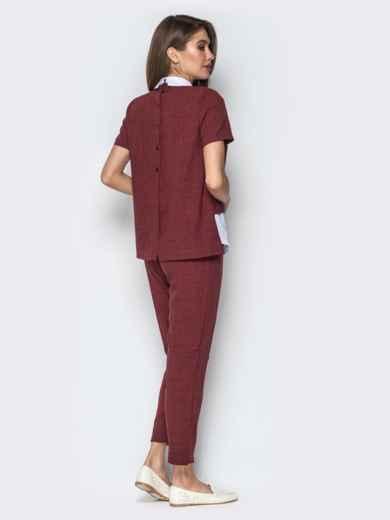 Комплект с кофтой имитирующей рубашку и брюками бордовый - 21154, фото 3 – интернет-магазин Dressa