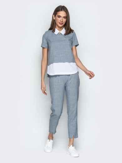 Комплект с кофтой имитирующей рубашку и брюками серый 21153, фото 1