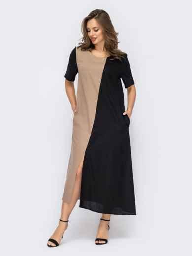 Льняное платье-трапеция с асимметричным низом черное 53735, фото 1