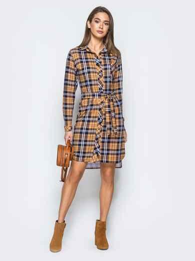 Платье-рубашка в клетку горчичного цвета - 17650, фото 1 – интернет-магазин Dressa