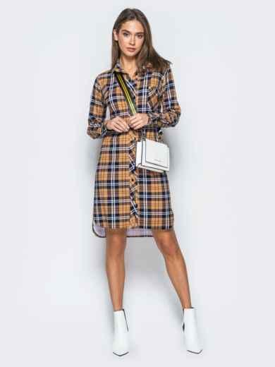 Платье-рубашка в клетку горчичного цвета - 17650, фото 2 – интернет-магазин Dressa