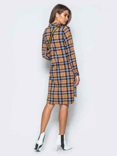 Платье-рубашка в клетку горчичного цвета - 17650, фото 3 – интернет-магазин Dressa
