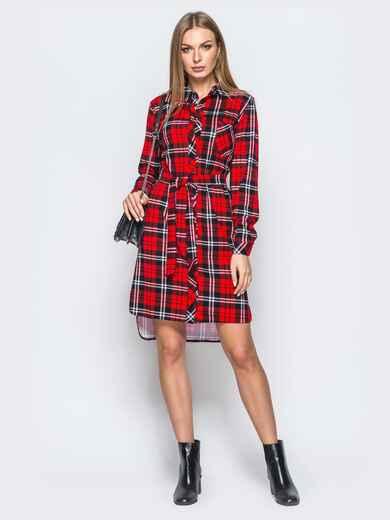 Платье-рубашка в клетку красного цвета - 17651, фото 1 – интернет-магазин Dressa