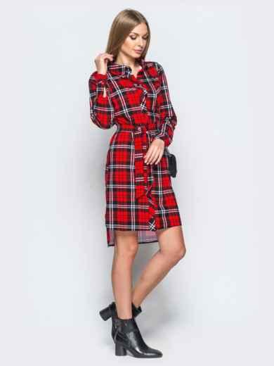 Платье-рубашка в клетку красного цвета - 17651, фото 2 – интернет-магазин Dressa