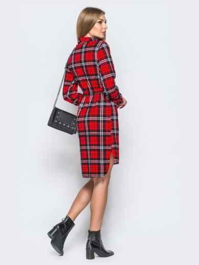 Платье-рубашка в клетку красного цвета - 17651, фото 3 – интернет-магазин Dressa