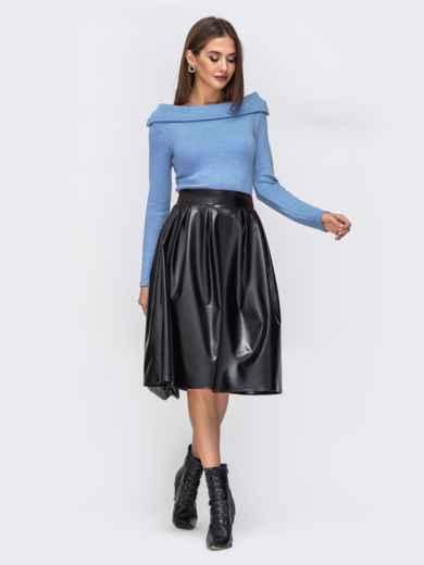 """Платье с вырезом """"лодочка"""" и юбкой из эко-кожи голубое - 42590, фото 1 – интернет-магазин Dressa"""