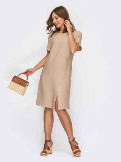 Платье-трапеция бежевого цвета с разрезом 53841, фото 1