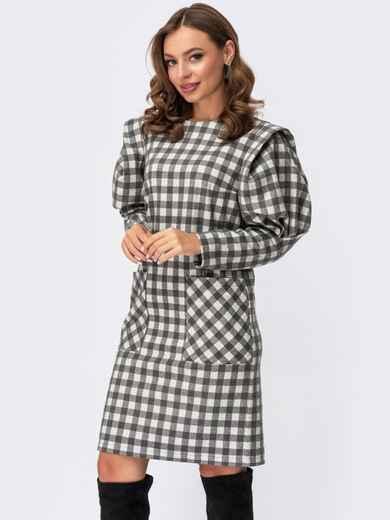 Серое платье в клетку с объемными рукавами и накладными карманами 55569, фото 1