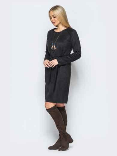 Замшевое платье черного цвета с поясом в комплекте - 17648, фото 2 – интернет-магазин Dressa