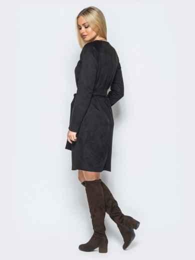 Замшевое платье черного цвета с поясом в комплекте - 17648, фото 3 – интернет-магазин Dressa