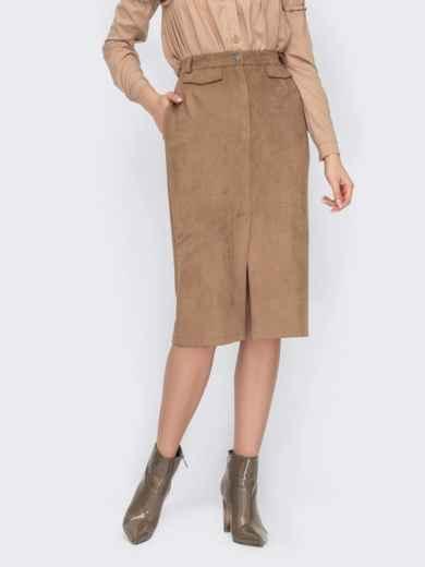Замшевая юбка-карандаш со шлицей спереди бежевая 53129, фото 1