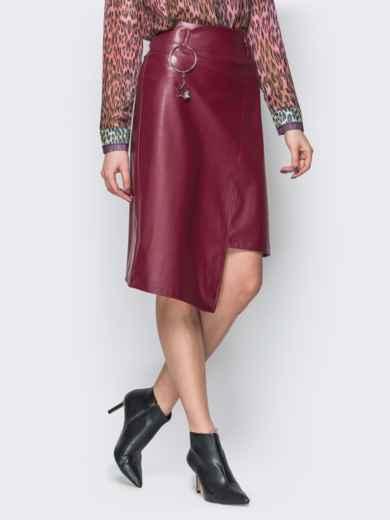 Асимметричная юбка из эко-кожи бордовая 19620, фото 2