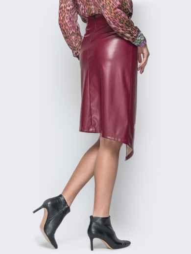 Асимметричная юбка из эко-кожи бордовая 19620, фото 3