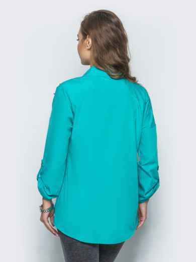 Бирюзовая рубашка с жемчугом на рукавах - 13410, фото 2 – интернет-магазин Dressa