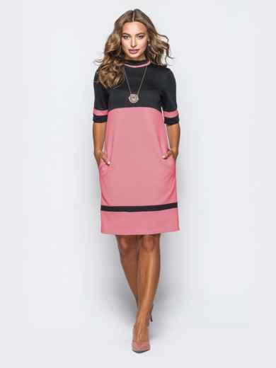 Двухцветное платье из французского трикотажа без застёжек коралловое 41210, фото 2
